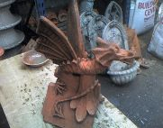 aged terracotta dragon roof finial