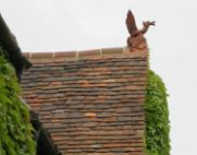 handmade clay tile roof with antique dragon roof finial